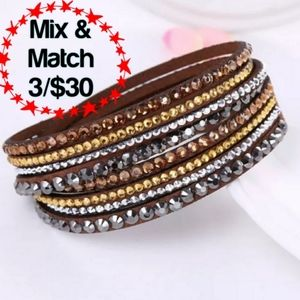 🔹️Faux Leather Brown Bracelet With Rhinestones